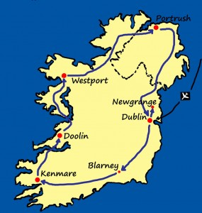 Map of Essence of Ireland Tour route