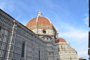 The Duomo in Florence sports the fanciest top in the Renaissance. After losing engineering expertise in the dark ages, the top red-tiled dome of Brunelleschi was almost a miracle.