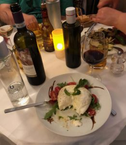 buratta and tomatoes